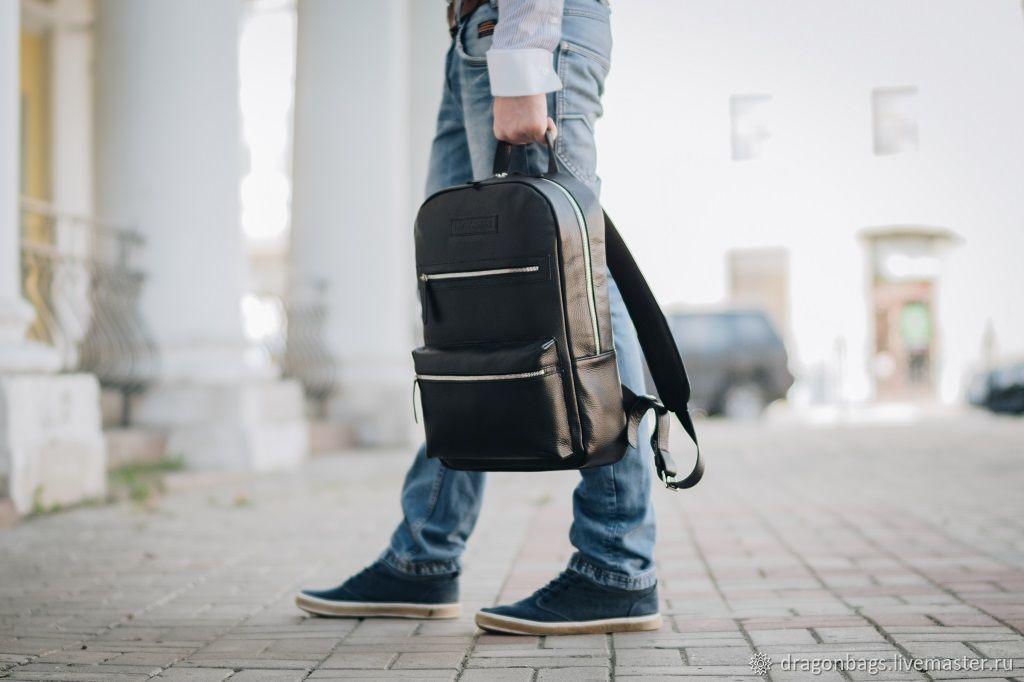 """Кожаный мужской рюкзак """"Karter"""" (Черный), Рюкзаки, Ярославль,  Фото №1"""