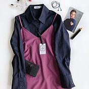 Одежда ручной работы. Ярмарка Мастеров - ручная работа Осеннее платье комбинация из тонкой шерсти. Handmade.