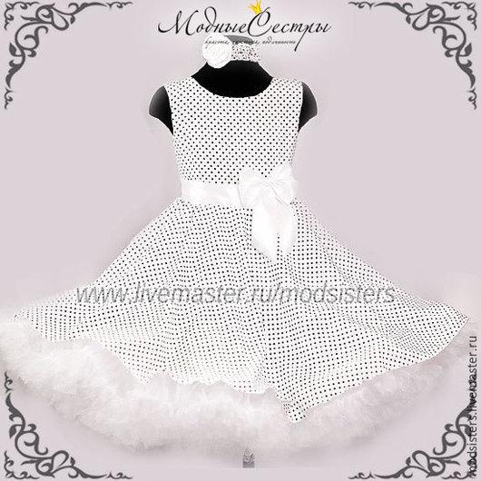 """Одежда для девочек, ручной работы. Ярмарка Мастеров - ручная работа. Купить Платье """"Белое черным горохом"""" Арт.246. Handmade."""