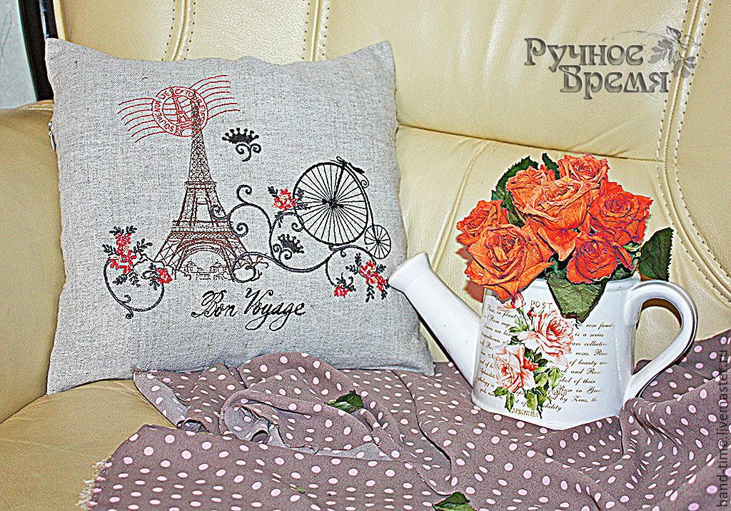 Вышивка париж для подушки