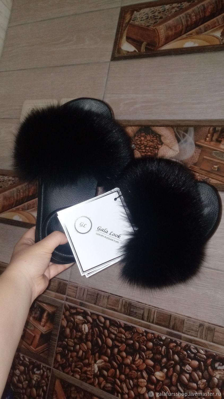 Шлёпки с мехом финского аукционного песца, Обувь, Тюмень, Фото №1