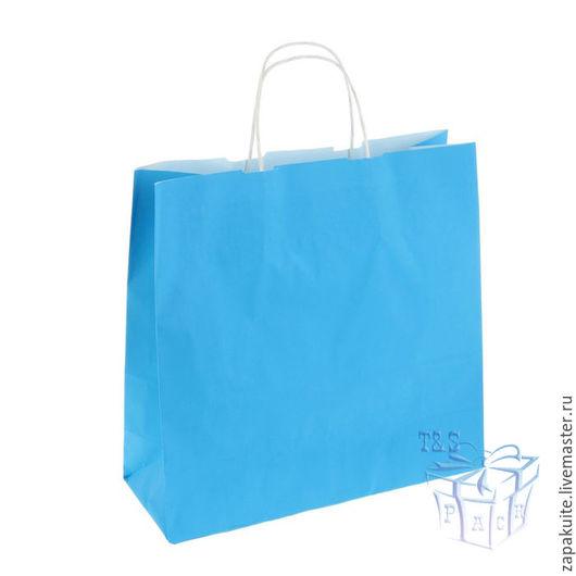 Упаковка ручной работы. Ярмарка Мастеров - ручная работа. Купить Крафт пакет, 32х32х12, с кручеными ручками, голубой, крафт пакеты. Handmade.