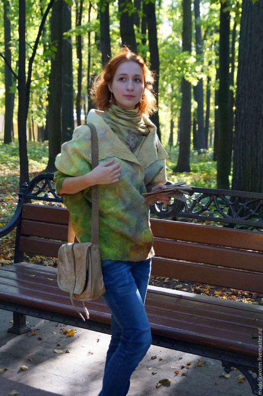 """Верхняя одежда ручной работы. Ярмарка Мастеров - ручная работа. Купить Летнее пальто """"Лесной туман"""". Handmade. Шелк, зелень"""