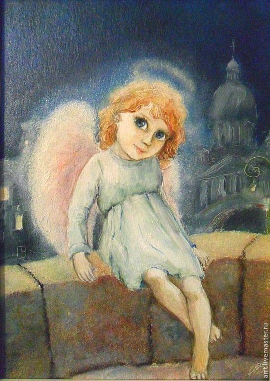 Ангел и город Авторский принт Репродукция по картине, Картины, Санкт-Петербург,  Фото №1