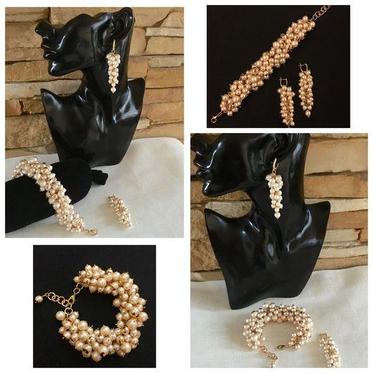 Женский красивый модный крупный стильный жемчужные украшения браслет серьги грозди из жемчуга в стиле Диор фото