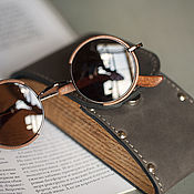 handmade. Livemaster - original item Leather and wood eyeglass case. Handmade.