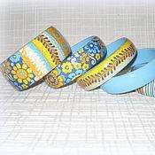 Украшения ручной работы. Ярмарка Мастеров - ручная работа Голубой комплект браслетов и серьги В цветочек, в полоску желтый синий. Handmade.