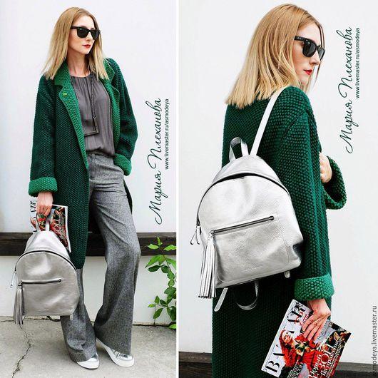Верхняя одежда ручной работы. Ярмарка Мастеров - ручная работа. Купить Пальто вязаное двухцветное bicolor. Handmade. Тёмно-зелёный
