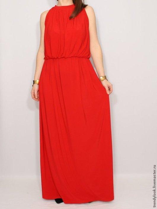 Платья ручной работы. Ярмарка Мастеров - ручная работа. Купить Красное Платье летний сарафан в пол. Handmade. Ярко-красный