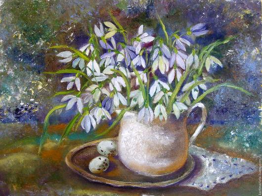 `Дыхание весны` Подснежники. Картина маслом. Позитивные картины для вас! Всегда прекрасное настроение.
