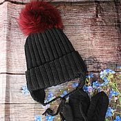Аксессуары handmade. Livemaster - original item Knit kit. Knitted black hat. knitted mittens.. Handmade.