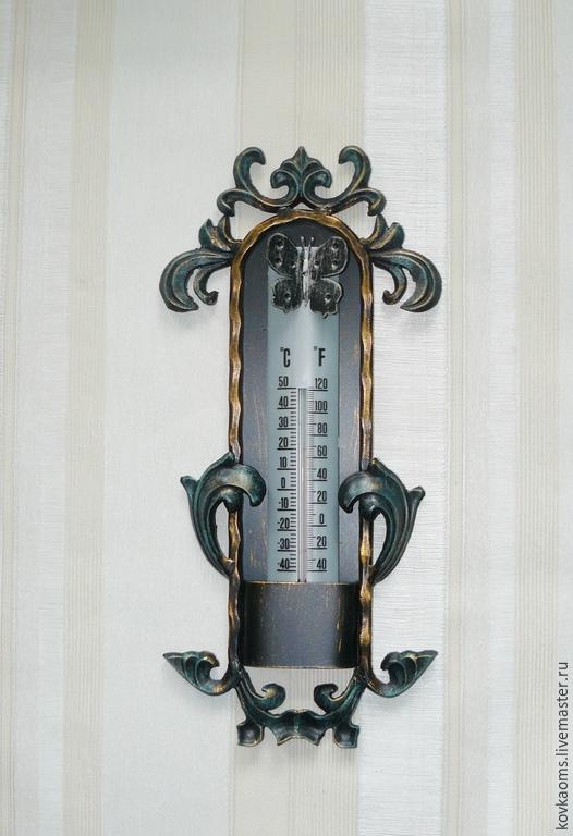 Экстерьер и дача ручной работы. Ярмарка Мастеров - ручная работа. Купить Кованый термометр с бабочкой. Handmade. Термометр, художественная ковка
