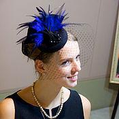 Аксессуары handmade. Livemaster - original item Cocktail hat Blue feather. Handmade.