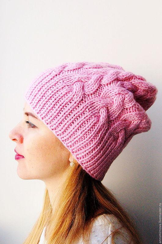 Шапки ручной работы. Ярмарка Мастеров - ручная работа. Купить Вязаная шапка из мериносовой шерсти. Handmade. Однотонный, шапка вязаная