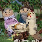 """Куклы и игрушки ручной работы. Ярмарка Мастеров - ручная работа Пальчиковый театр """"Курочка ряба. Handmade."""