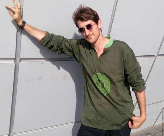 """Для мужчин, ручной работы. Ярмарка Мастеров - ручная работа. Купить Оливковая Рубашка  """"ОМ"""" из тонкого хлопка. Handmade. Рисунок"""