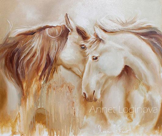 Животные ручной работы. Ярмарка Мастеров - ручная работа. Купить Golden horse. Handmade. Картина на холсте, картины с лошадьми, влюбленные