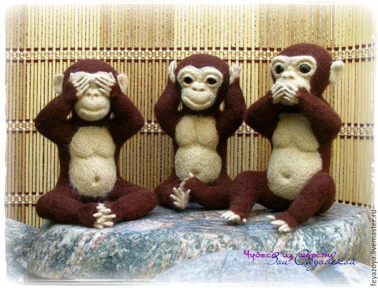 Игрушки животные, ручной работы. Ярмарка Мастеров - ручная работа. Купить Три обезьяны. Handmade. Коричневый, новогодний сувенир