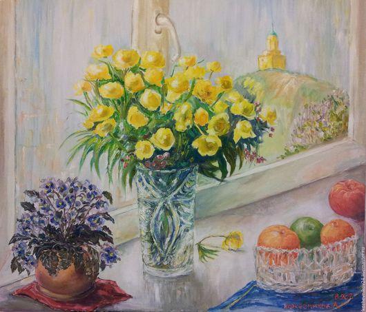 Натюрморт ручной работы. Ярмарка Мастеров - ручная работа. Купить Тёплый свет мая. Handmade. Оранжевый цвет, натюрморт, церковь