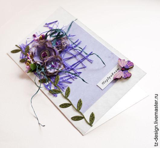 Открытки для женщин, ручной работы. Ярмарка Мастеров - ручная работа. Купить Открытка Сиреневые цветы. Handmade. Сиреневый, открытка