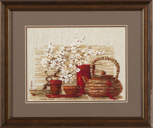 """Натюрморт ручной работы. Ярмарка Мастеров - ручная работа. Купить """"Чай"""". Handmade. Ярко-красный, натюрморт, натюрморт с цветами"""
