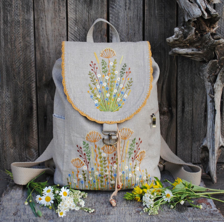Linen backpack 'wild flowers', Backpacks, Rybinsk,  Фото №1