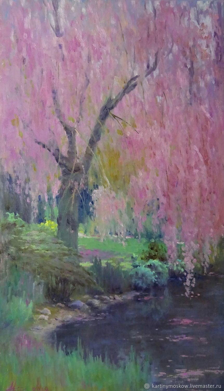 Картина маслом пейзаж Цветущее дерево, Картины, Москва,  Фото №1