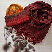 Аксессуары handmade. Livemaster - original item Set hat and scarf terracotta red. Handmade.