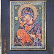 Картины и панно handmade. Livemaster - original item The Vladimir icon of the mother of God embroidered Czech beads. Handmade.