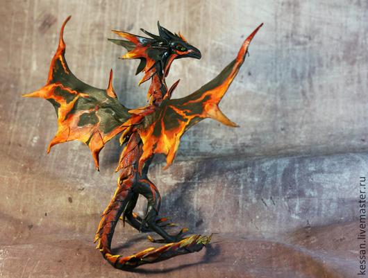 """Сказочные персонажи ручной работы. Ярмарка Мастеров - ручная работа. Купить Виверн   """"лавовый"""" дракон лава огонь игрушка вулкан. Handmade."""