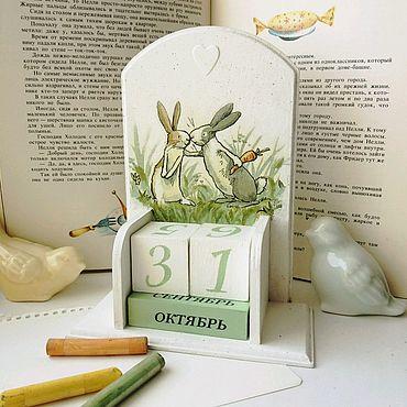Для дома и интерьера ручной работы. Ярмарка Мастеров - ручная работа Календарь вечный настольный Зайчики для детей и взрослых. Handmade.