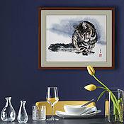 Картины ручной работы. Ярмарка Мастеров - ручная работа Картина Важное дело 50x40 суми-э лофт снег зима кот кошка тушь индиго. Handmade.