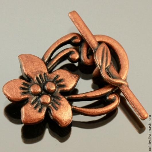 Замок застежка для украшений тоггл Цветок из цинкового сплава с покрытием медь комплектами по три штуки