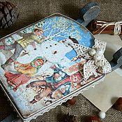 """Подарки к праздникам ручной работы. Ярмарка Мастеров - ручная работа """"Пойдем играть в снежки..."""" санки интерьерные. Handmade."""