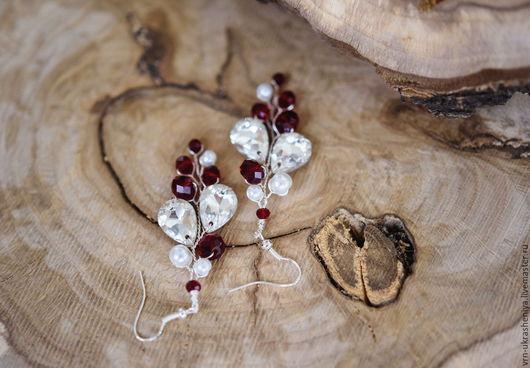 Свадебные украшения ручной работы. Ярмарка Мастеров - ручная работа. Купить Серьги в бордовом цвете. Марсала. Handmade. Бордовый, белый