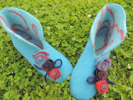 """Обувь ручной работы. Ярмарка Мастеров - ручная работа. Купить Валяные женские тапочки """" Бирюзовое настроение"""". Handmade. Бирюзовый"""