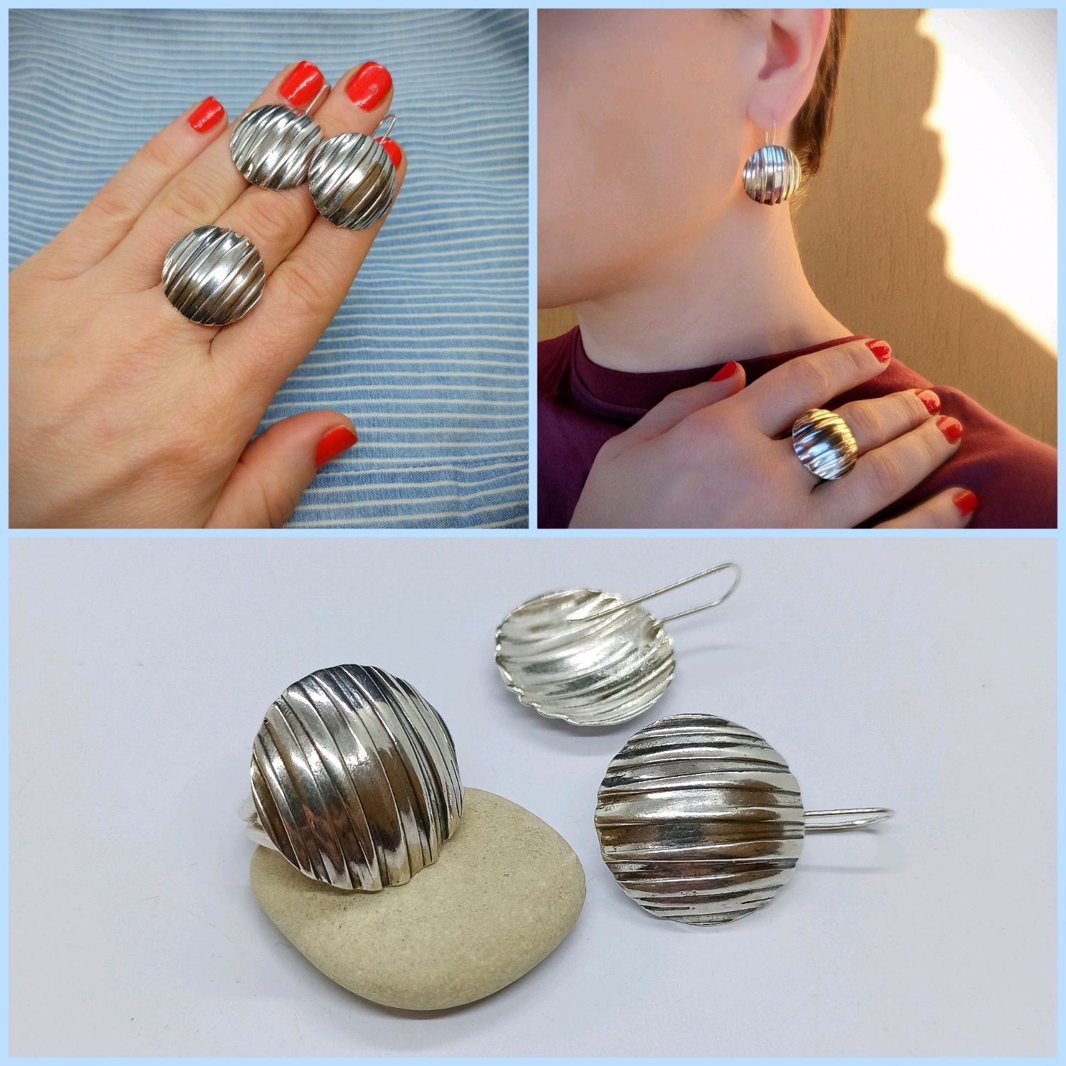 Parallel Ring. Silver jewelry set. Silver Set, Rings, Turin,  Фото №1