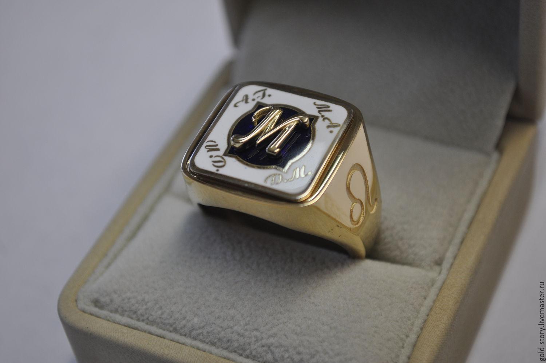 Кольца ручной работы. Ярмарка Мастеров - ручная работа. Купить перстень  золотой мужской с инициалами ... b6c35655ba2