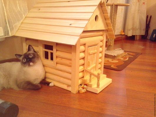 Аксессуары для кошек, ручной работы. Ярмарка Мастеров - ручная работа. Купить Домик для кошки , собачки, енота. Handmade. Бежевый, сосна