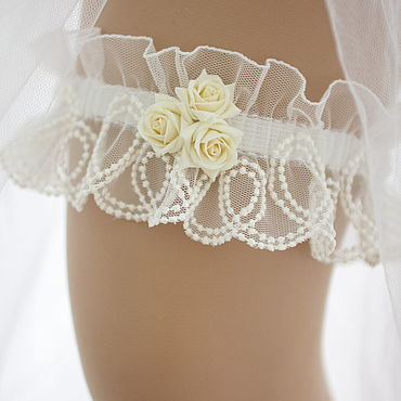 """Свадебный салон ручной работы. Ярмарка Мастеров - ручная работа Подвязка для невесты """"Сьюзен"""". Handmade."""