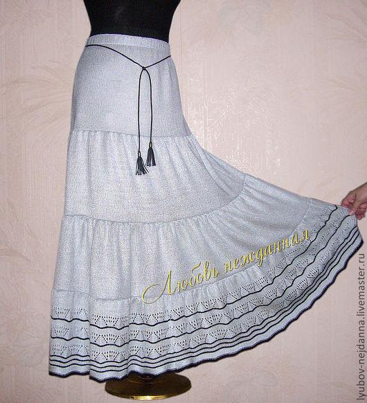 Юбки ручной работы. Ярмарка Мастеров - ручная работа. Купить Юбка летняя в пол. Handmade. Серый, юбка вязаная