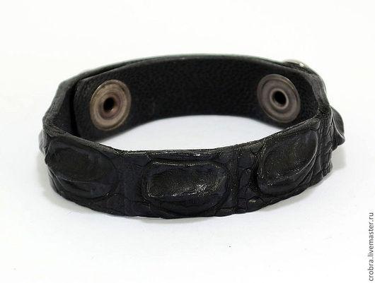 Браслеты ручной работы. Ярмарка Мастеров - ручная работа. Купить Популярный браслет из натуральной крокодиловой кожи. Handmade. Черный