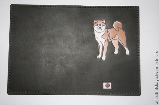 """Аксессуары для собак, ручной работы. Ярмарка Мастеров - ручная работа. Купить обложка на ветпаспорт """"Акита ину"""". Handmade. Черный, акита"""