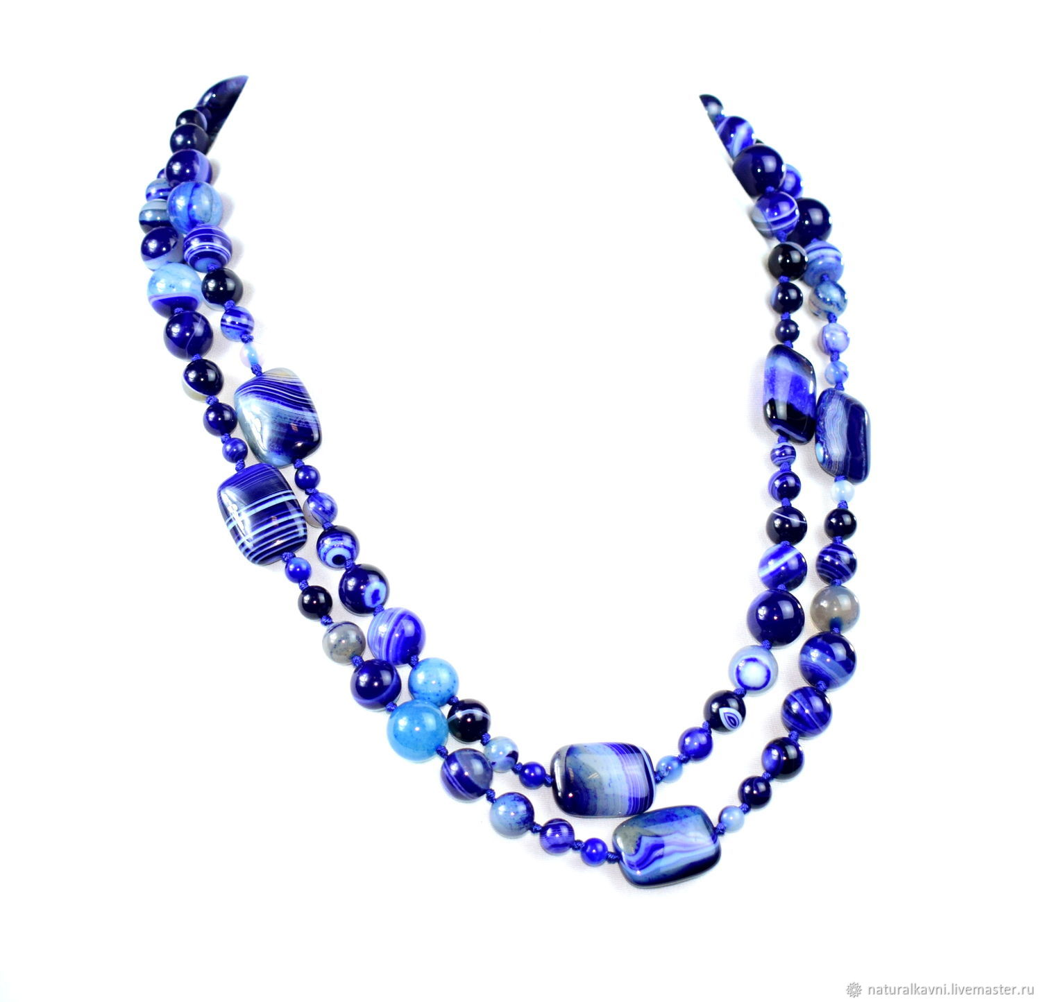 Blue long beads natural agate, Necklace, Moscow,  Фото №1