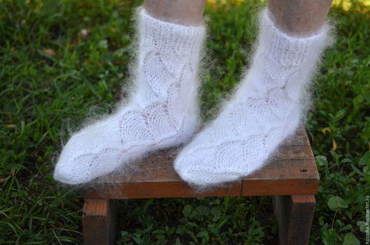 Носки, Чулки ручной работы. Ярмарка Мастеров - ручная работа. Купить Пуховые носки из белого козьего пуха. Handmade. Белый
