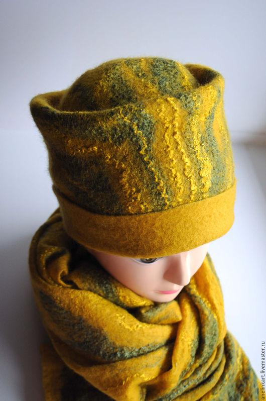 """Шапки ручной работы. Ярмарка Мастеров - ручная работа. Купить Шапка и шарф валяные """"Тёплая осень"""". Handmade. Валяная шапка"""