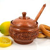 Посуда handmade. Livemaster - original item Woodcarving. Sugar bowl with spoon. Handmade.
