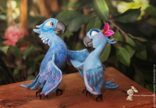 Игрушки животные, ручной работы. Ярмарка Мастеров - ручная работа. Купить Попугайчики из Рио:). Handmade. Синий, вдохновение, голубой цвет
