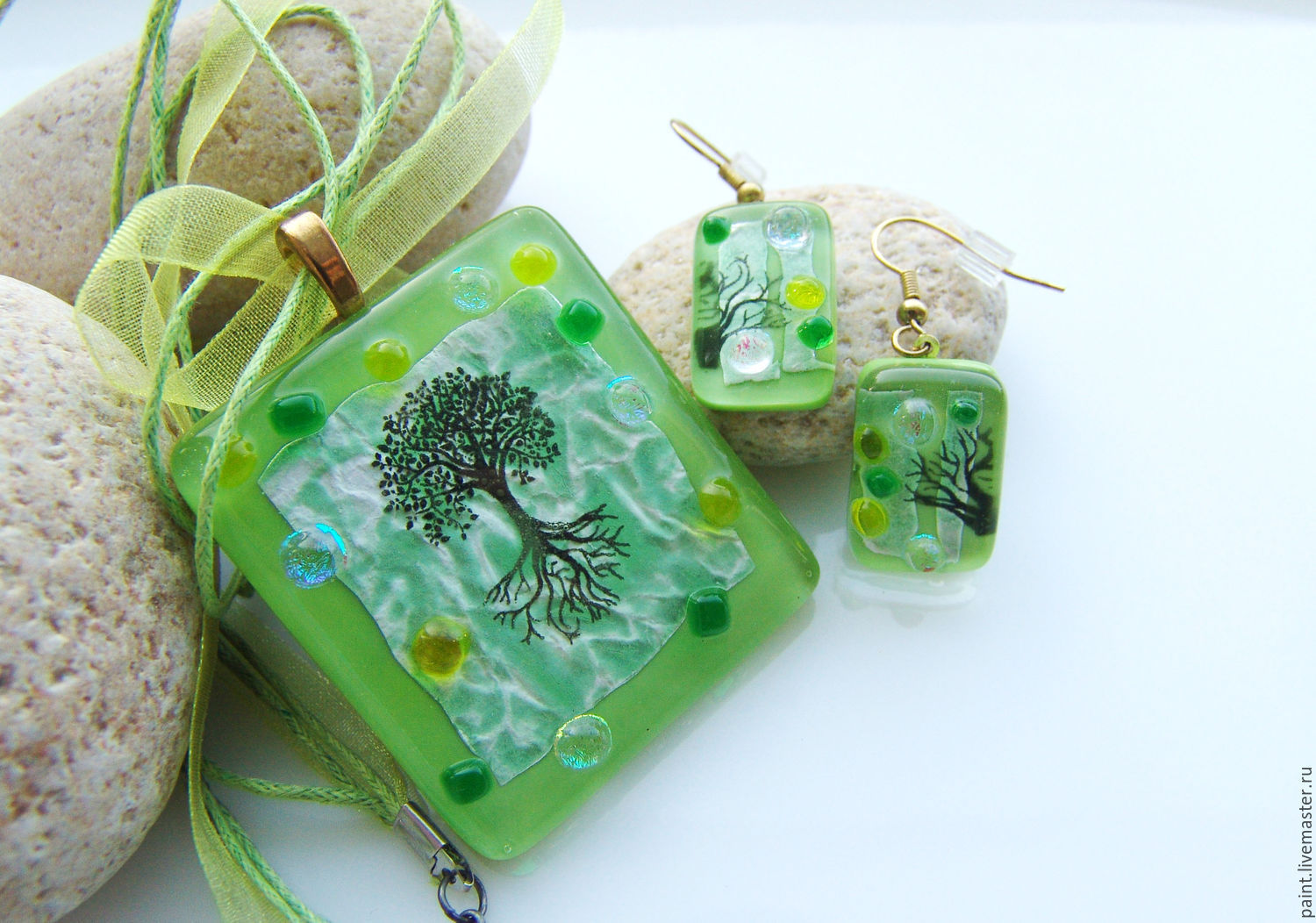 Set of glass ornaments Spring has come! Copyright glass. Fusing, Jewelry Sets, Khabarovsk,  Фото №1