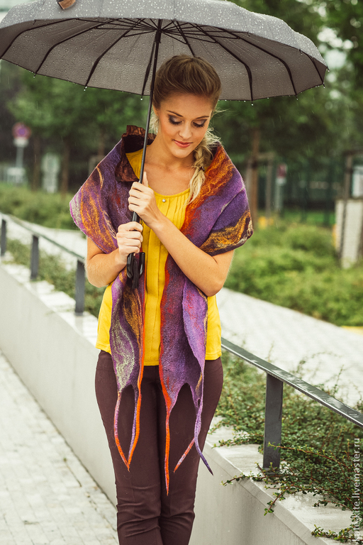 Шарфы и шарфики ручной работы. Ярмарка Мастеров - ручная работа. Купить Войлочный шарф. Handmade. Тёмно-фиолетовый, валяный